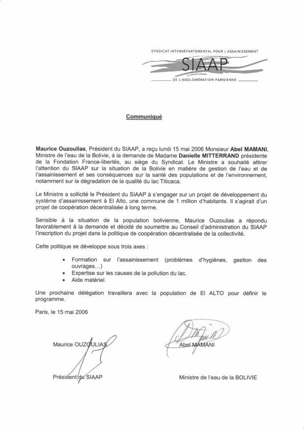 L'accord signé par le SIAAP et ABEL MAMANI, ministre bolivien de l'eau