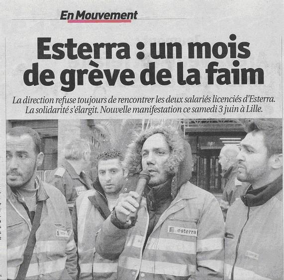 Inexpliquée : <font color='red' size=6> <b>« Au 37ème jour </font><font color='red' size=4>de grève de la faim des salariés d'Esterra à Lille vive inquiétude après la disparition de Christian Andrieux !</font></b>