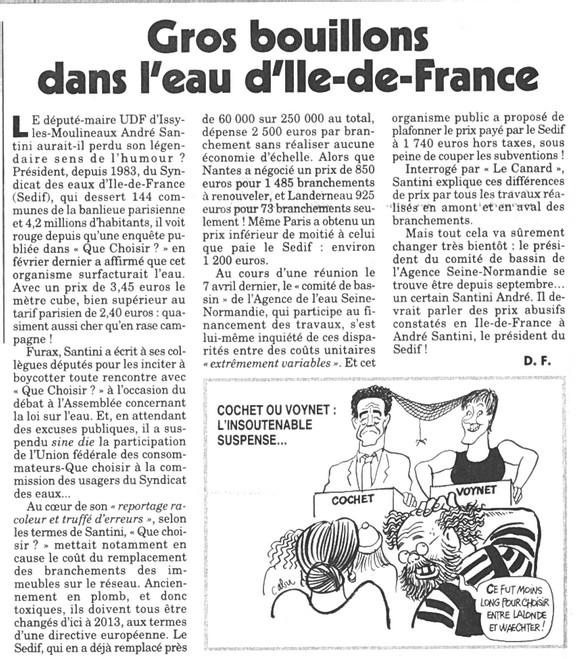 CANARD ENCHAINE : GROS BOUILLON DANS L'EAU D'ILE DE FRANCE