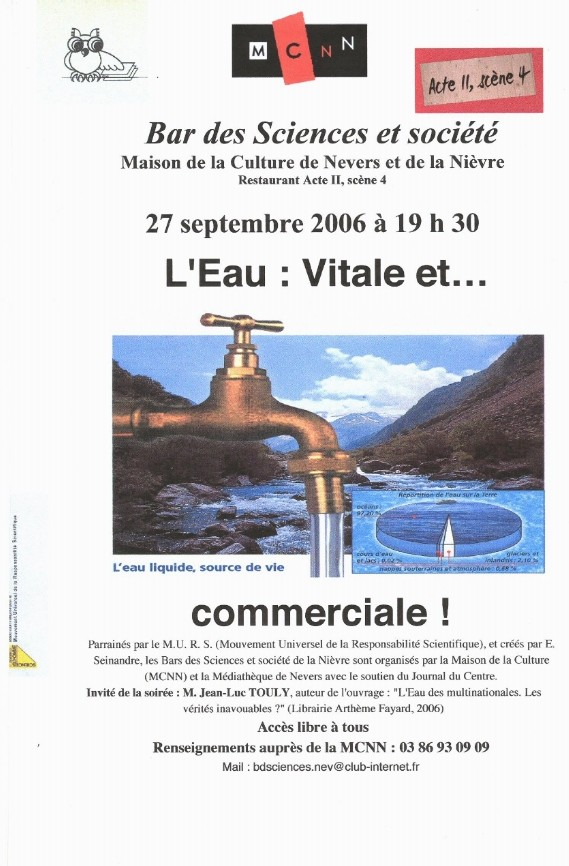 Débat à Nevers le 27 septembre 2006 : l'Eau des Multinationales Vitale et Commerciale