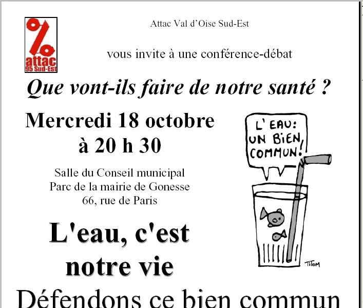 Mercredi 18 octobre dans la salle du Conseil municipal de Gonesse, Réunion publique