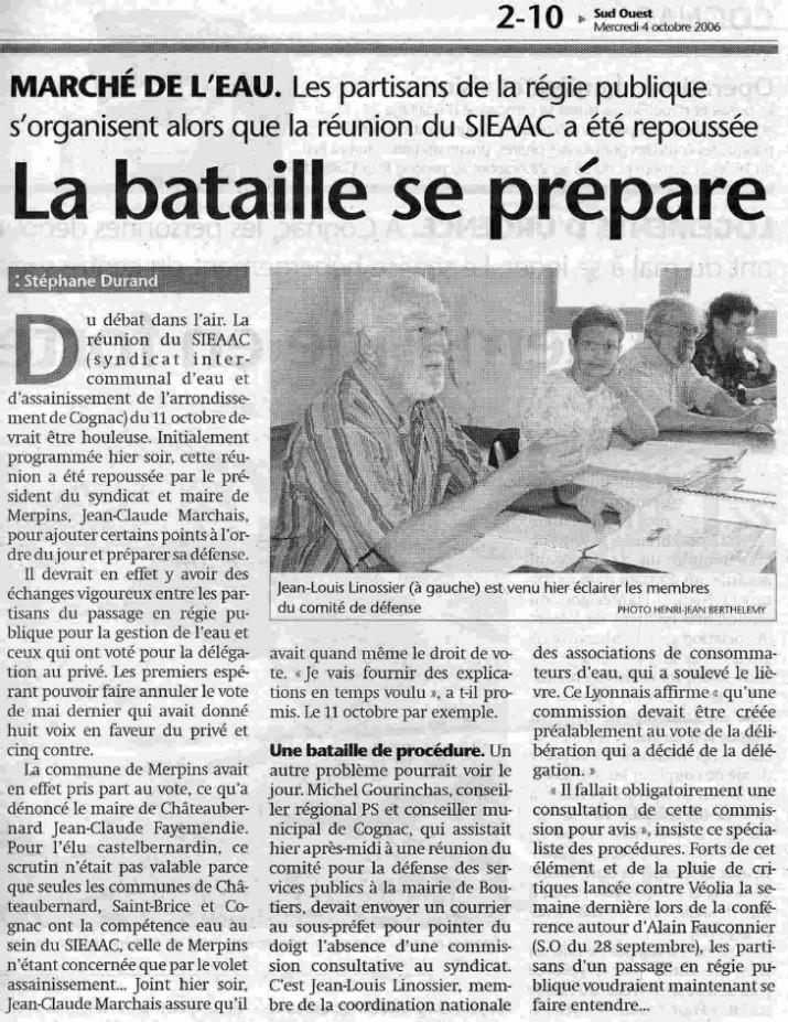 La bataille de l'eau aura bien lieu à Cognac