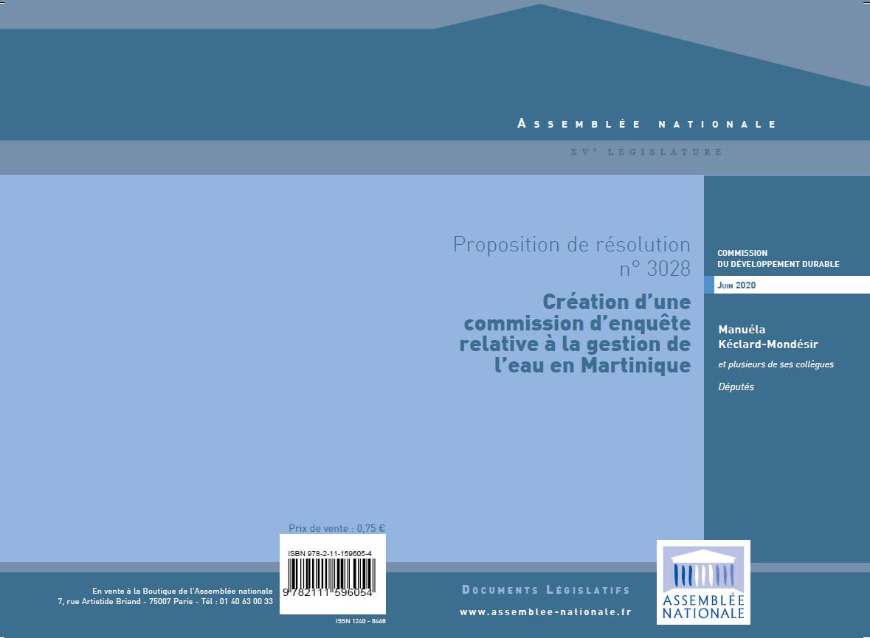 Proposition de Résolution visant à la création d'une Commission d'enquête sur la gestion de l'eau en Martinique