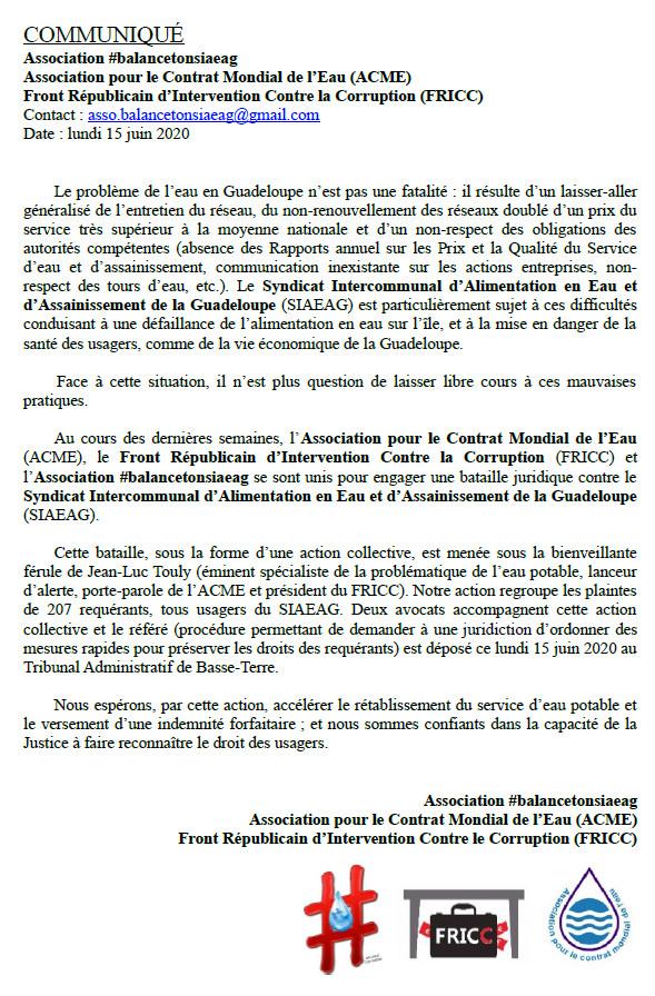Communiqué de presse du 15 juin 2020 : Référé de 207 usagers de l'eau de Guadeloupe et de l'association @balancetonsiaeag devant le Tribunal Administratif de Basse Terre
