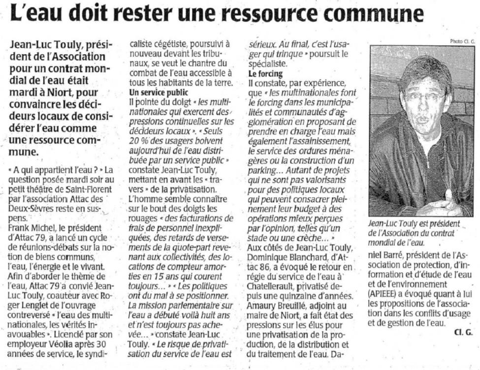 Conférence sur l'eau à Niort organisée par Attac le 24 octobre