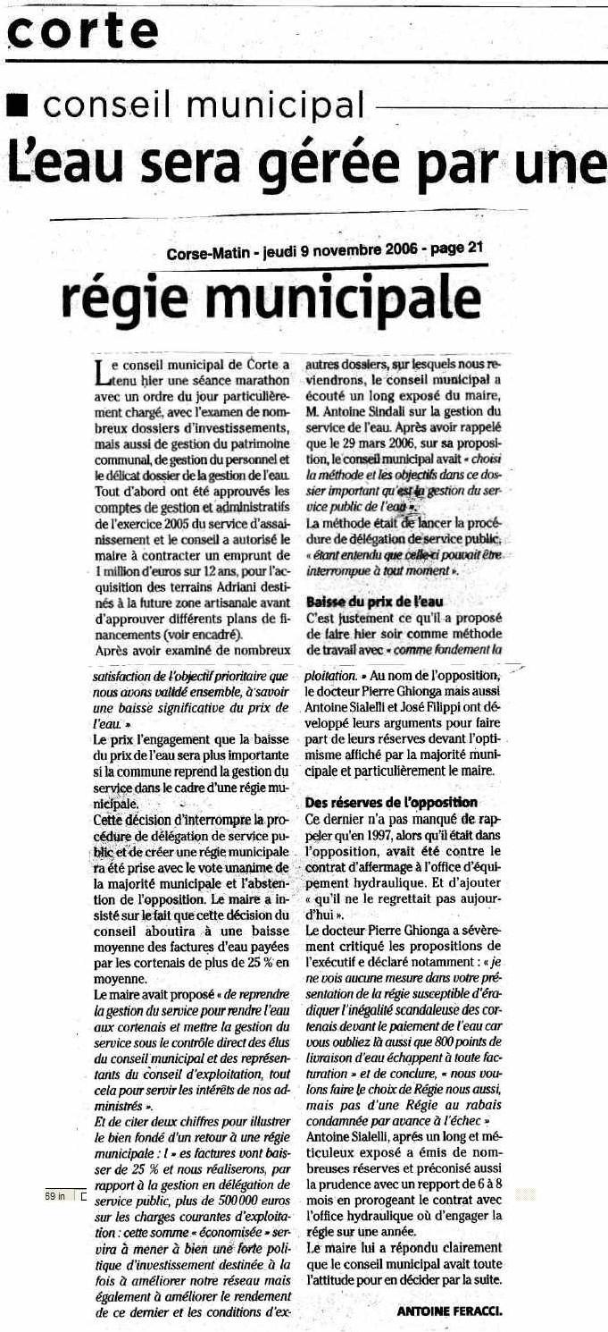 Corse toujours imprévisible (suite) : La Municipalisation du service des eaux a été votée à Corté pour remédier à la gabegie et diminuer le prix de l'eau