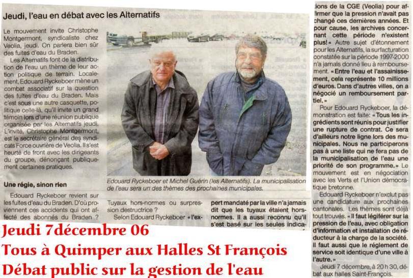 Jeudi 7 décembre à Quimper aux halles St François on parlera d'eau
