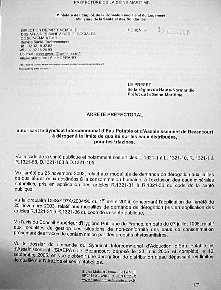 Une dérogation officielle, en Hte Normandie, pour fournir de l'eau non potable comme de l'eau potable
