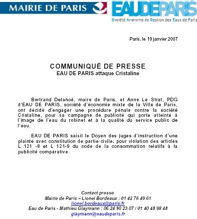 PUB de CONTREPUB : réactions et communiqués de presse au sujet des eaux 'Cristaline'  Le dossier.