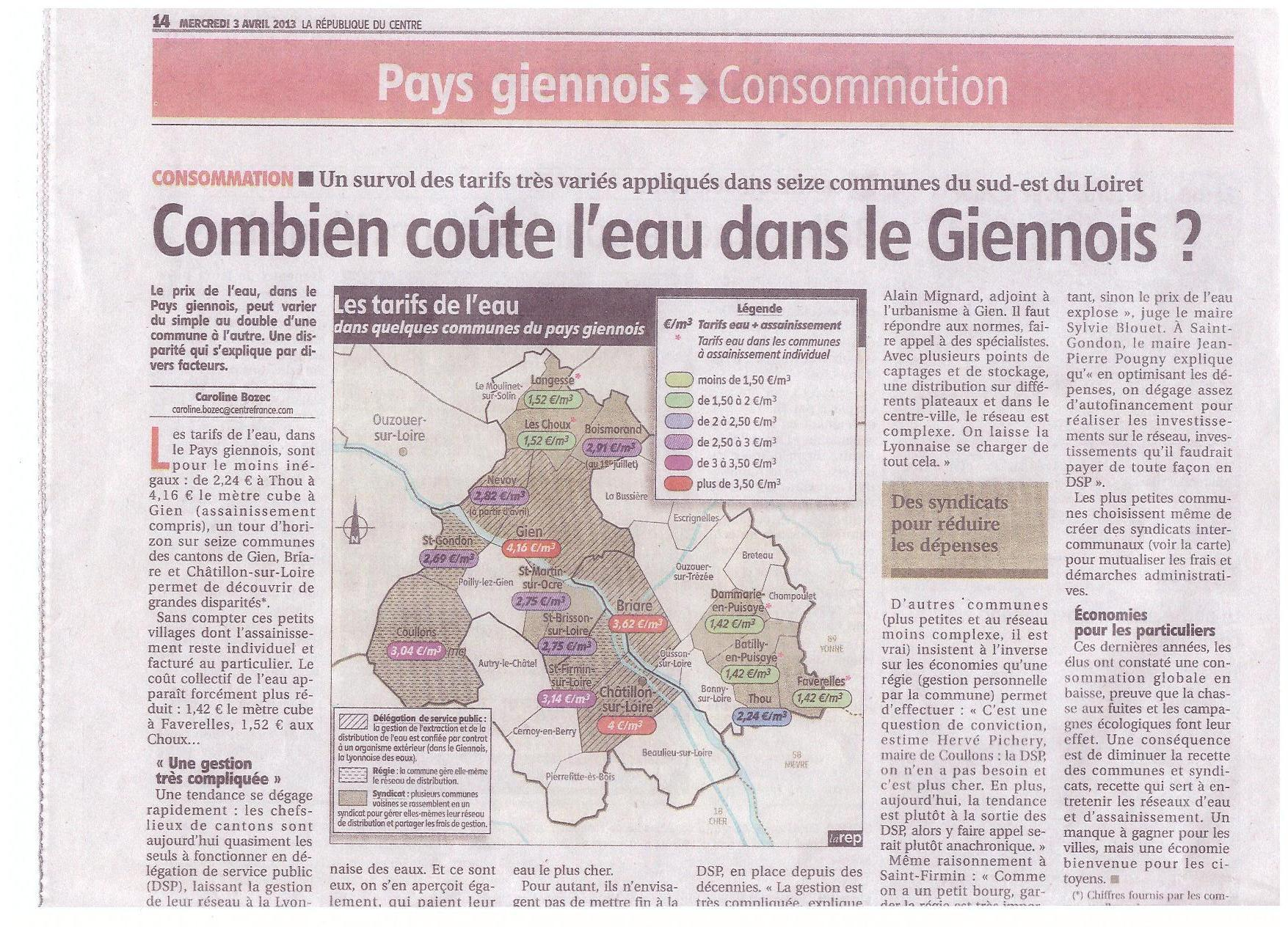 Combien co te l 39 eau dans le giennois sud est du loiret - Combien coute 1 litre d eau du robinet ...