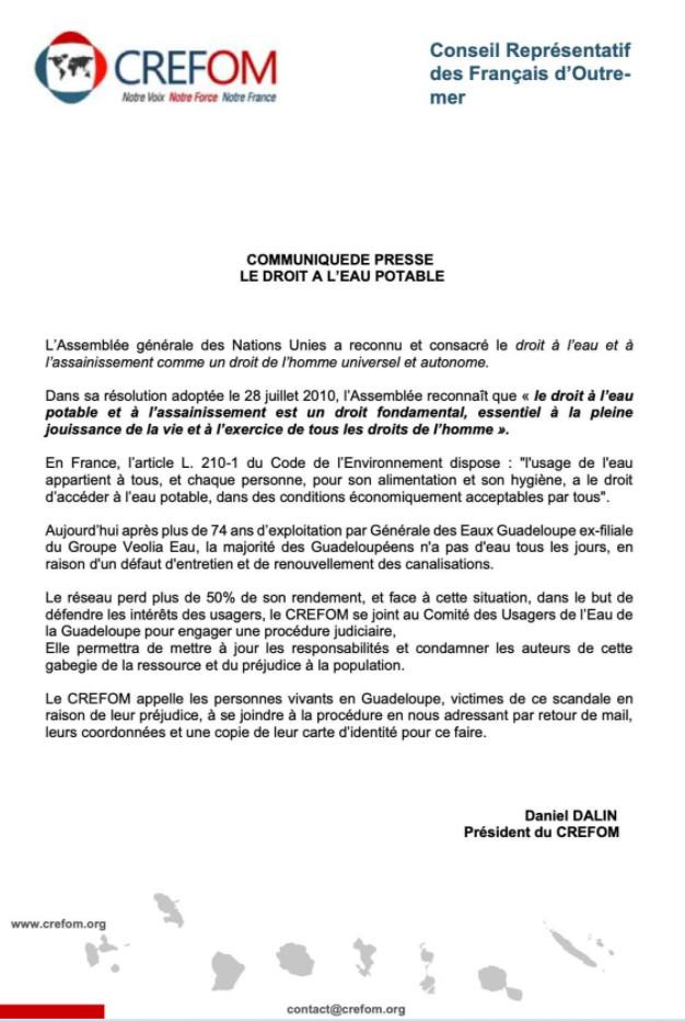 Communiqué du CREFOM sur le droit à l'eau en Guadeloupe soutenu par des associations guadeloupéennes, l'ACME France et le FRICC
