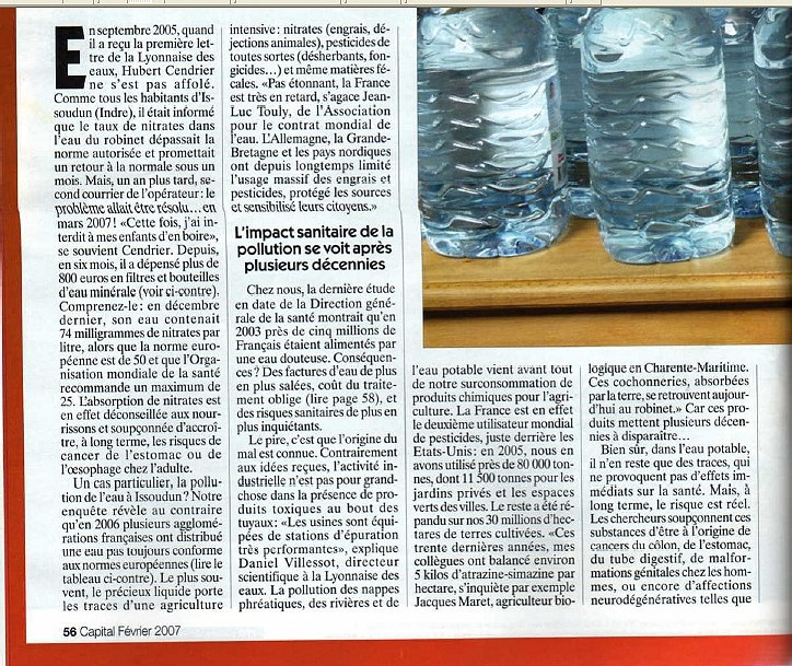 Pollution et prix de l'eau un article de CAPITAL