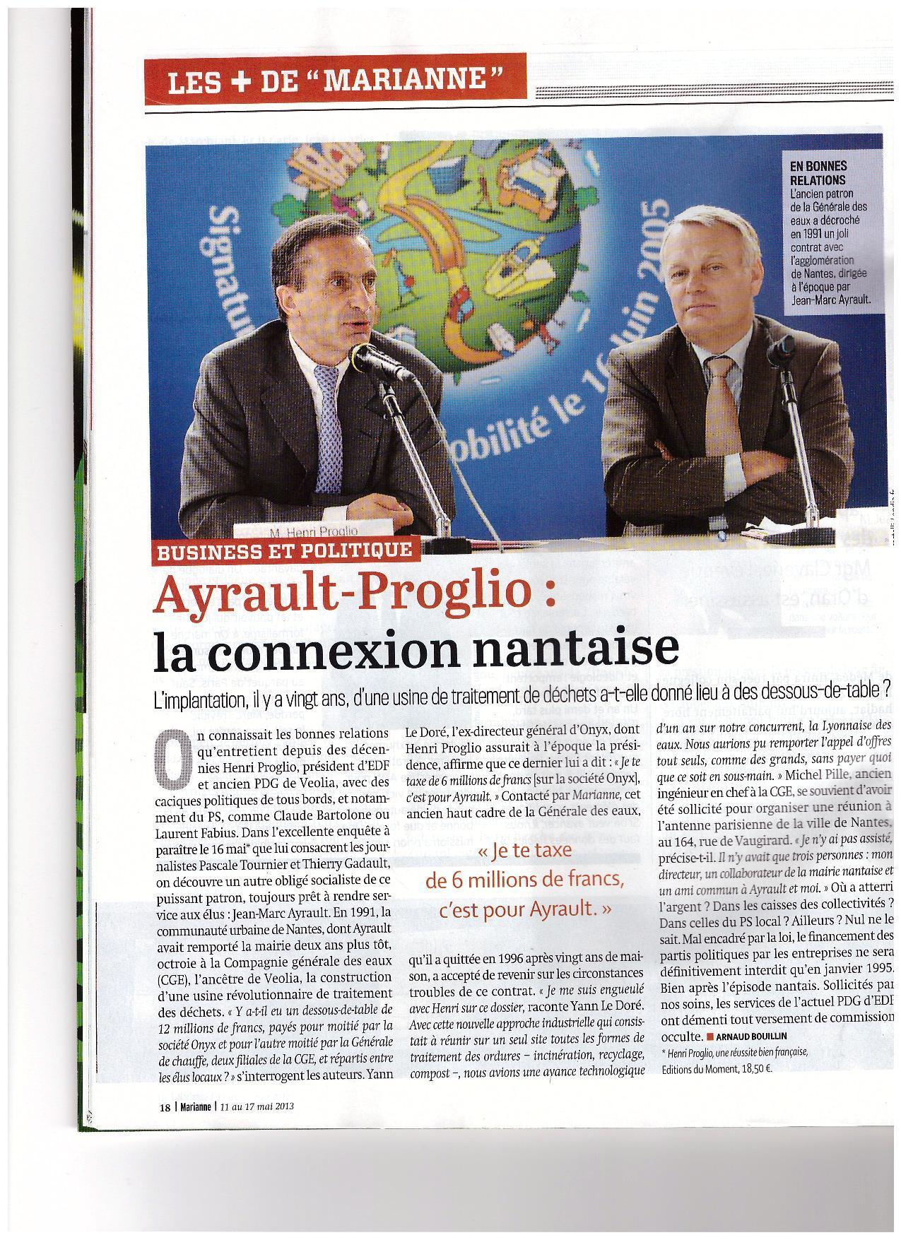 article de Marianne : Ayrault, Proglio: La connexion nantaise.