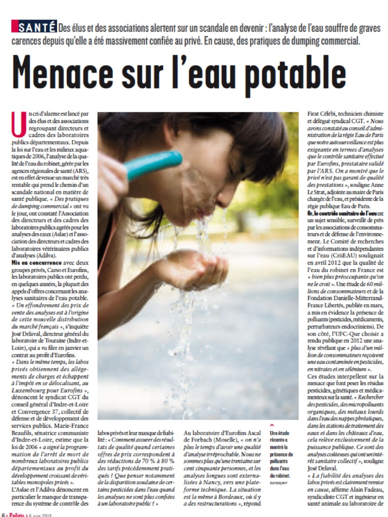 Menace sur l'eau potable : article de Politis de juin 2013