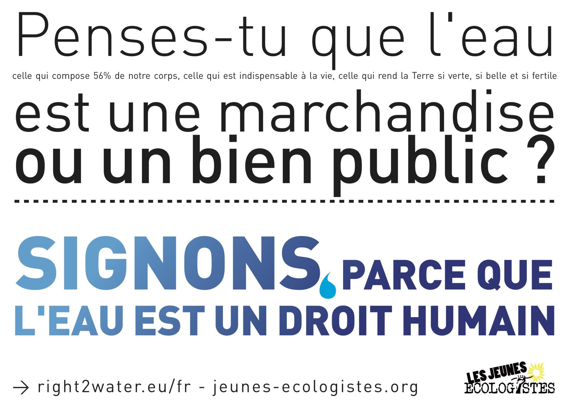 Signons afin que l'eau soit considérée comme un bien public et un droit humain