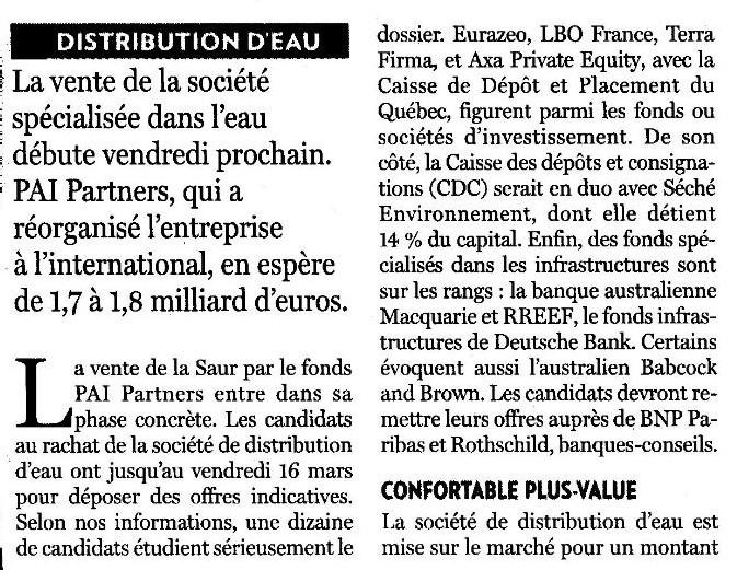 Vente de la Saur par le fonds de pension PAI de la BNP Paribas