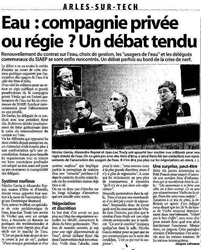 A Arles sur Tech le débat sur la remunicipalisation de la gestion de l'eau fut tendu