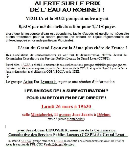 ALERTE SUR LE PRIX DE L' EAU AU ROBINET ! Attac Est Lyonnais organise une réunion d'information lundi 26 mars 07 à 19h30