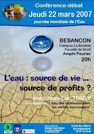 Conférence-débat L'eau source de vie ou de profits ? 22 mars à Besançon Faculté de Droit Campus la Bouloie