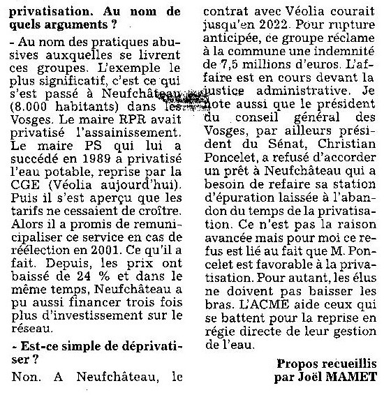 L'ACME à Besançon à l'occasion de la journée mondiale de l'EAU
