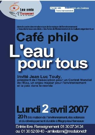 Magny les Hameaux : CAFE PHILO : L'EAU POUR TOUS Le 2 Avril à 20 h