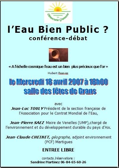Le 18 avril réunion publique : l'Eau Bien Public ? conférence débat à GRANS à 18 heures