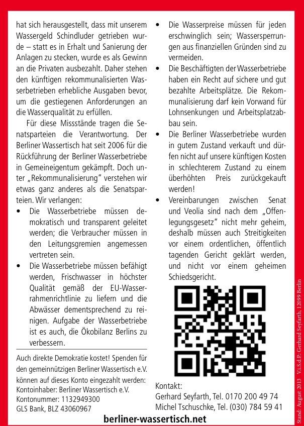 Un site allemand pour informer sur la remunicipalisation en Allemagne : Berliner Wassertisch
