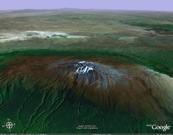 le Kilimandjaro, vue satellite