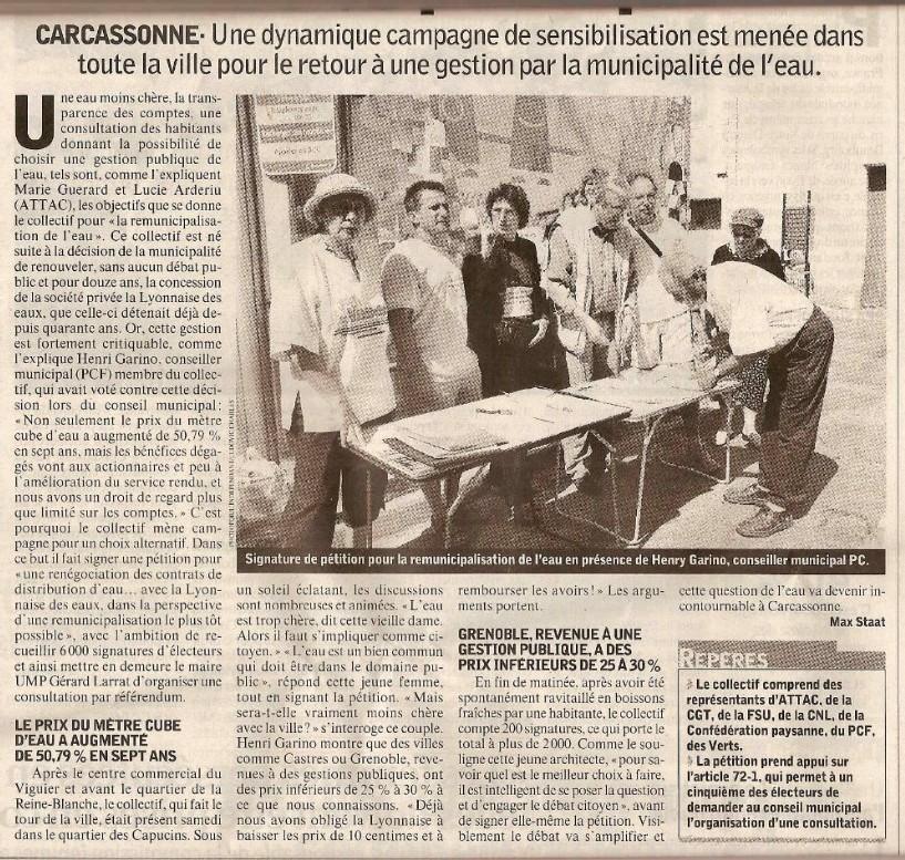 Carcassonne sonne le ralliement pour une eau potable publique