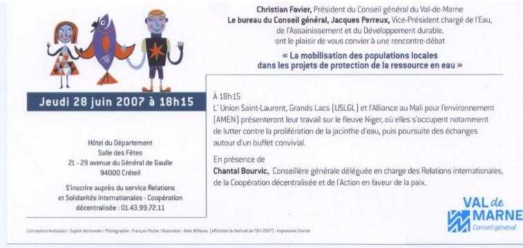 Invitation au Festival de l'eau du Val de Marne Jeudi 28 juin 2007