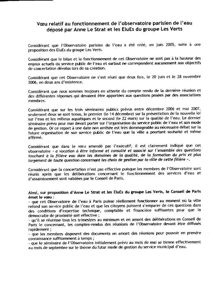 Voeu d'Anne Le Strat et du groupe des Verts au Conseil Municipal de Paris 25-26 juin 2007 relatif au fonctionnement de l'Observatoire Parisien de l'Eau
