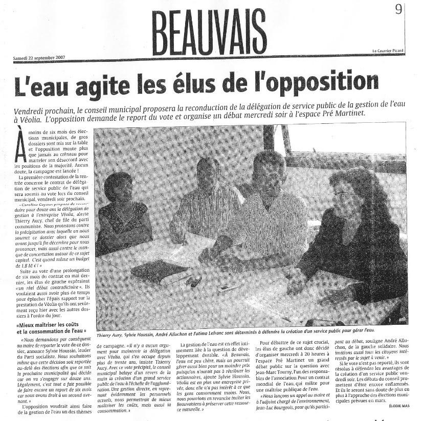 L'eau agite les élus de l'Opposition de Beauvais