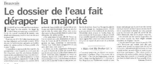 Article du Parisien sur le débat concernant la délégation de l'eau au conseil municipal de Beauvais
