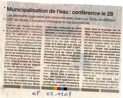 Débat à Quimper le 28 novembre 07 : Municipalisation de l'eau, une exigence politique, éthique et économique