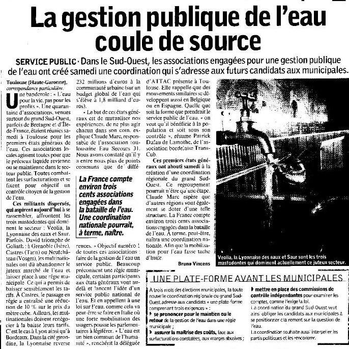 Les états généraux de l'eau à Toulouse : article de l'Humanité du 10 12 07