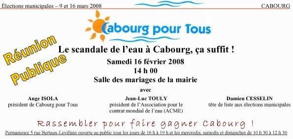 Samedi 16 février 14h Réunion publique sur la gestion de l'eau à Cabourg depuis 1989 par Veolia
