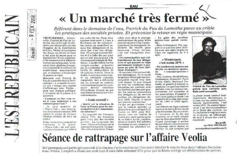 Municipales à NEUFCHATEAU : Un marché très fermé : un article de l'EST REPUBLICAIN du 9 février 2008