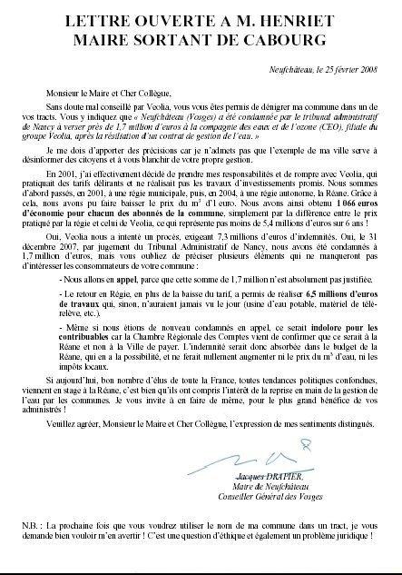 Municipales à CABOURG : Réponse du maire de Neufchâteau au maire de Cabourg