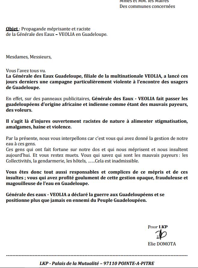 LKP : Campagne raciste et méprisante de VEOLIA en Guadeloupe