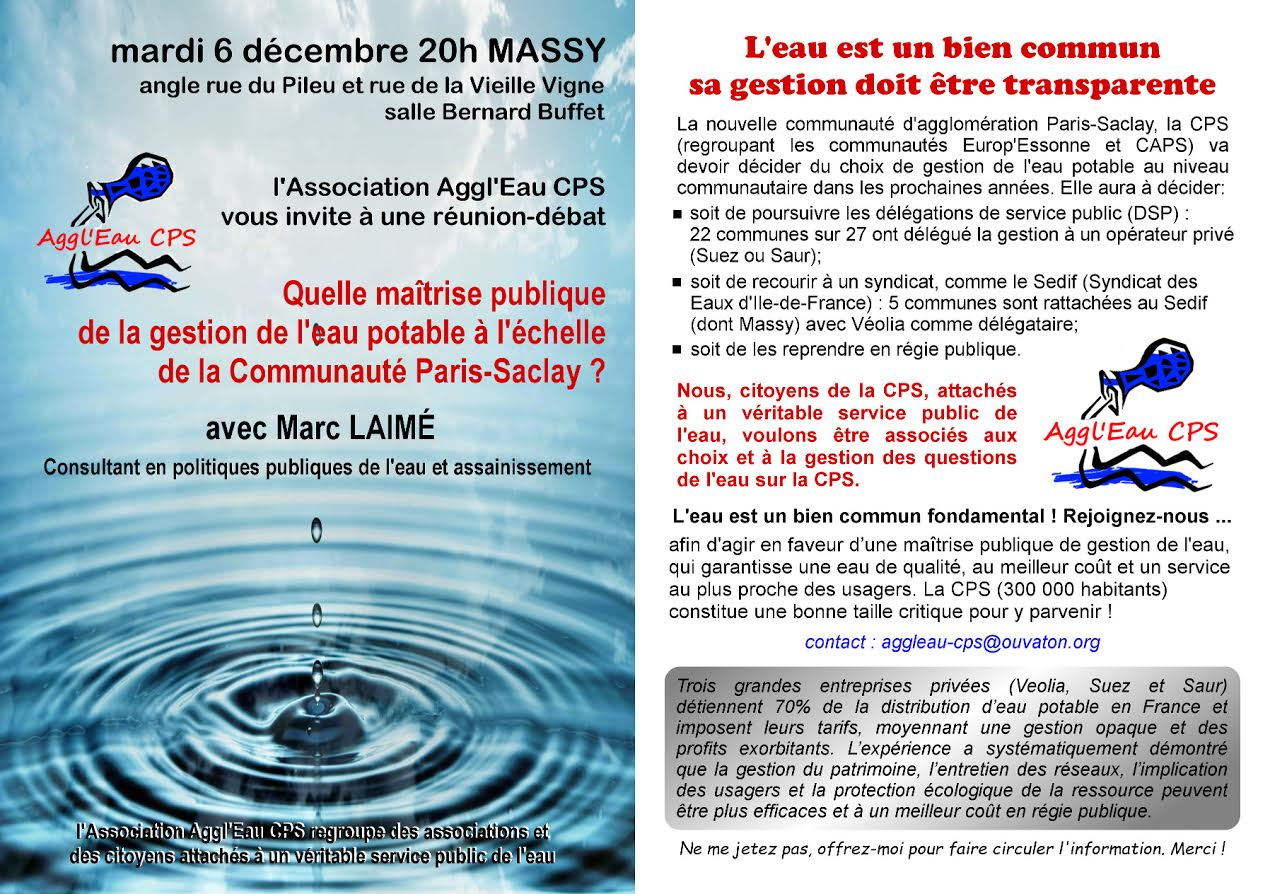 6 décembre à 20h à Massy nouvelle réunion publique sur la gestion de l'eau potable de Paris Saclay avec Marc Laimé