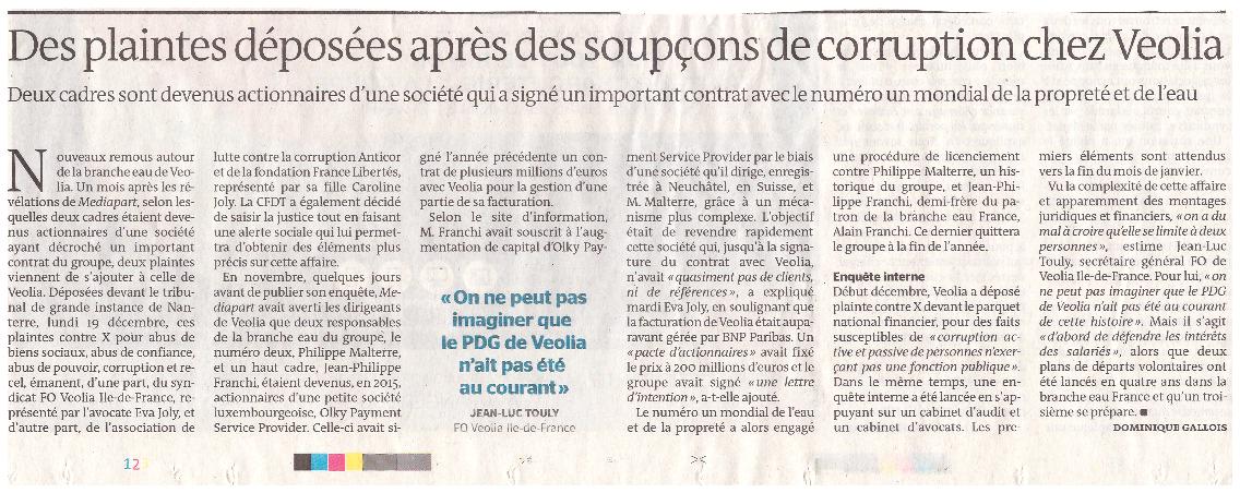 Le Monde du 22  décembre 2016 sur l'affaire Veolia Eau