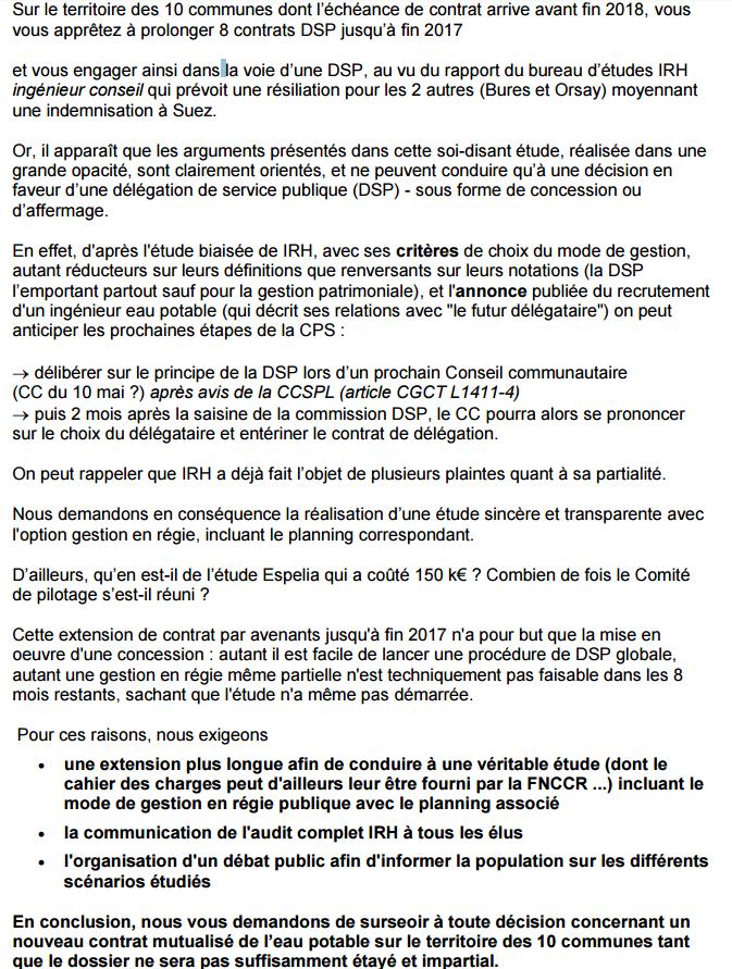 Conseil communautaire Paris Saclay (chambre d'enregistrement) : L'eau un bien commun transparent mais un marché caché et juteux pour qui et pourquoi (voir l'audit tronqué) et où le citoyen doit se taire et où le mensonge est roi pour certains ?