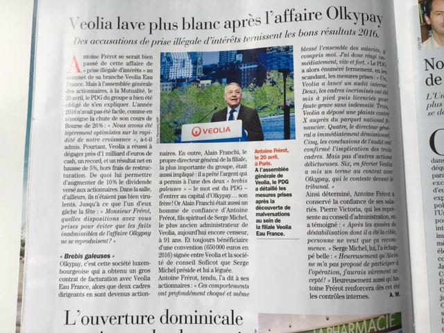 Challenges 27 avril : AG Veolia 20 avril : Veolia lave plus blanc après l'affaire Olkypay (voir interview de l'administrateur salariés CFDT P Victoria et l'administrateur de 90 ans S Michel ami d'Alain Franchi)