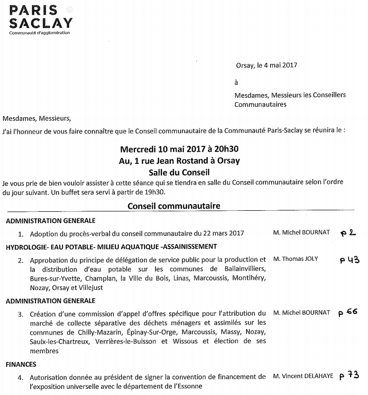 Conseil communautaire Paris Saclay 10 mai 2017