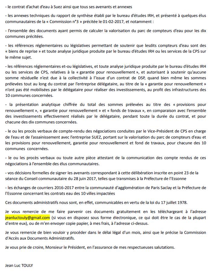Contestation de la légalité de la délibération inscrite en point 23 de la séance du Conseil communautaire Paris Saclay du 28 juin 2017. « Approbation et autorisation donnée au Président de signer des avenants de clôture aux contrats de concession eau