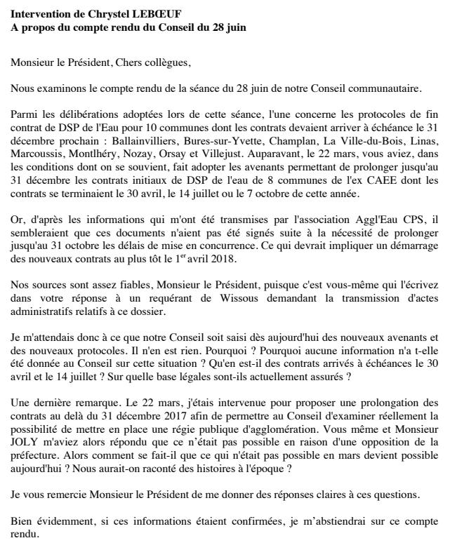 Intervention de C Leboeuf élue communautaire lors du conseil communautaire de Paris Saclay du 27 septembre 2017