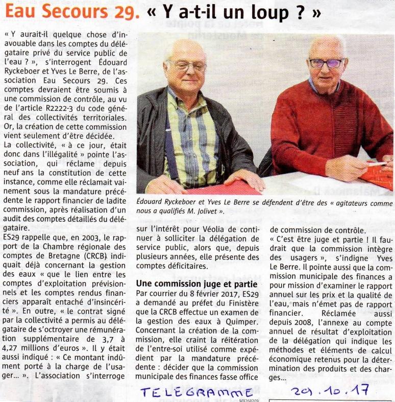 Eau Secours 29 Quimper : création de la commission de contrôle (financier) des DSP