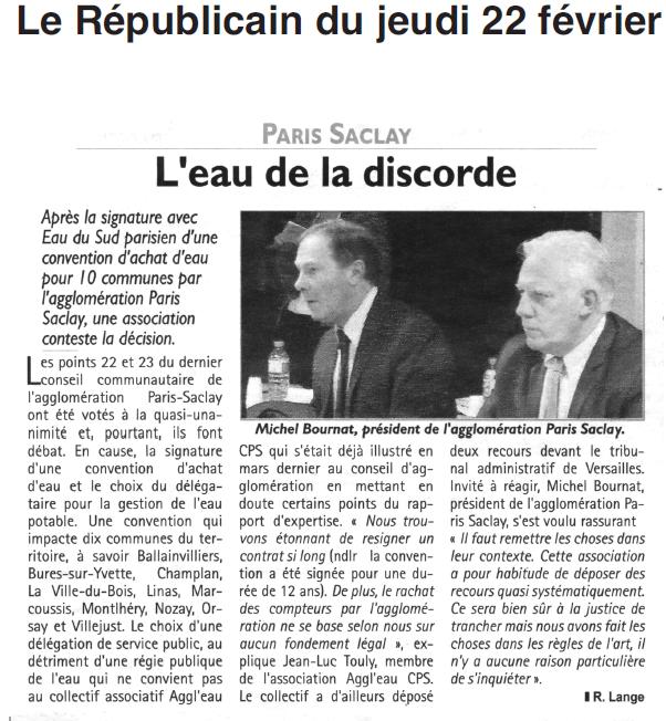 Le Républicain de l'Essonne 22 février : Paris Saclay : l'eau de la discorde