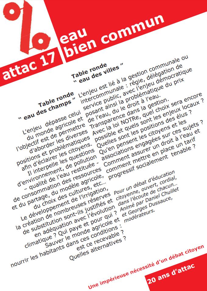 Jeudi 29 mars - 18h30 - Salle Georges Brassens - Aytré La Rochelle Attac 17 Eau des Villes Eau des champs Bien commun et à quel prix ?