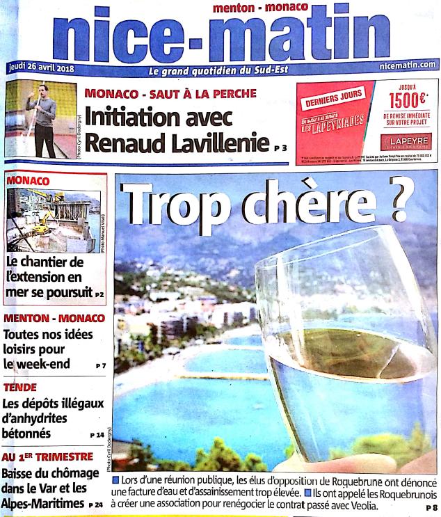 Nice Matin 26 avril 2018 : Pourquoi le prix de l'eau fait-il des remous à Roquebrune ?